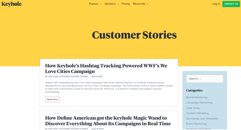 Designate a page/place for case studies on your site